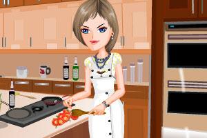 美女学烹饪
